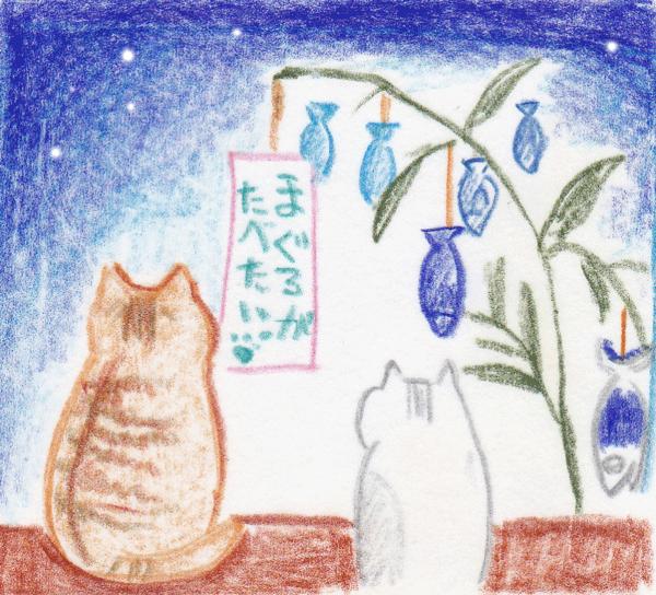 猫が七夕に願いを込めるイラスト