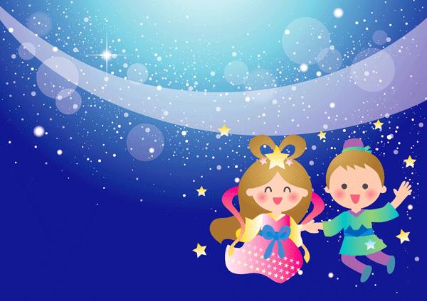 七夕の織り姫とひこ星のイラスト