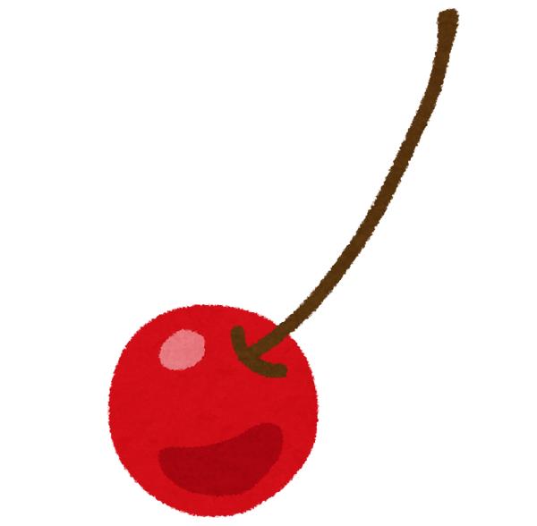 さくらんぼが単独で登場するシンプルなイラスト