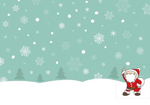 クリスマスの雪とサンタのイラスト