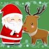 クリスマスのサンタクロースとトナカイのイラスト