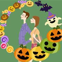 ハロウィンのカップルの仮装