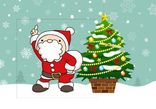 クリスマスのイラストツリーとサンタ