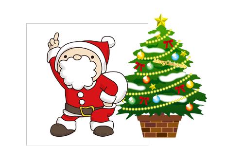 サンタとツリーのイラスト