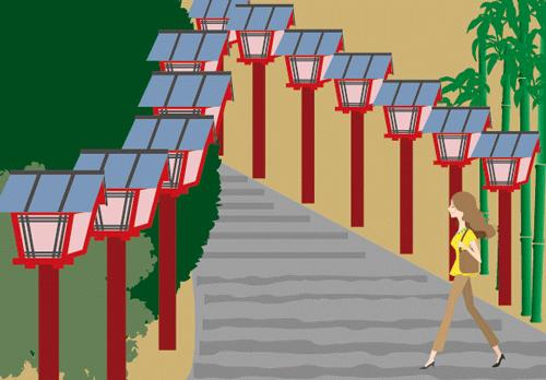 神社に通う女性のイラスト