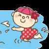 プールで遊ぶ赤い水着の女の子