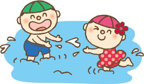 プールで遊ぶ男の子と女の子